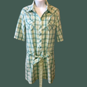 Horny Toad Plaid Belted Shirt Dress Small